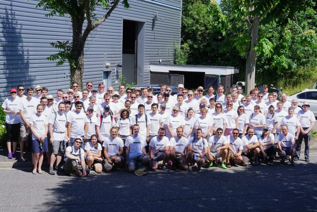 A photograph of Syrris/Blacktrace employees after the 15 year walk for charity