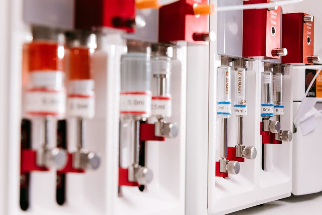 A photograph of Syrris Asia flow chemistry syringes