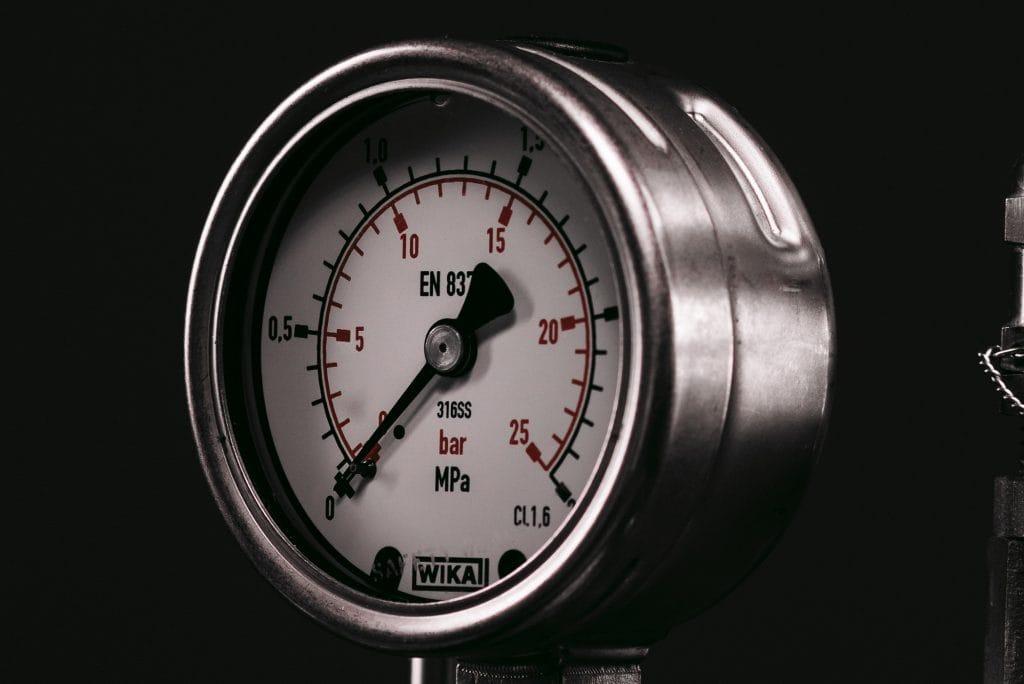 A close up photograph of the Syrris Chemisens Calorimeter pressure gauge