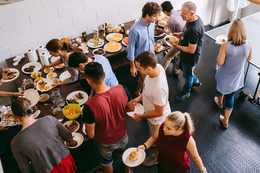 Syrris employees during a company lunch