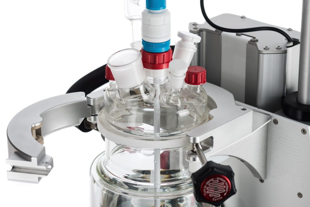 A photograph of the quick clamp system on the Syrris Orb Jacketed Reactor