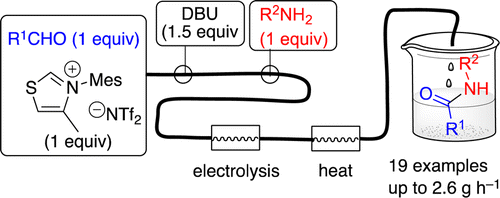 N‑Heterocyclic Carbene-Mediated Microfluidic Oxidative Electrosynthesis of Amides from Aldehydes