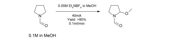 The Methoxylation of N-formyl-pyrrolidine in a Microfluidic Electrolysis Cell for Routine Synthesis