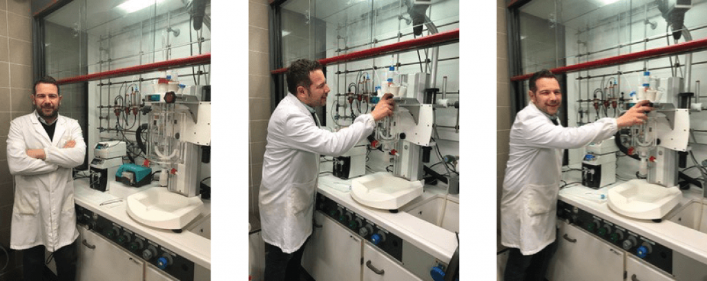 Dr.-Marco-Marchetti-at-NIS-Materials-using-his-Syrris-Orb-Jacketed-Reactor