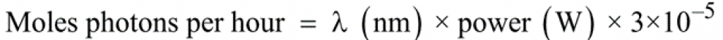 Equation 2 – Number of moles of photons (einsteins) per hour at a given wavelength (λ)<sup>2</sup>